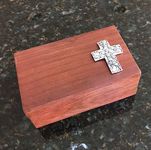 Pewter Spirit Cross on Wooden Box - Confirmation, Baptism, 1st Communion Gift Idea