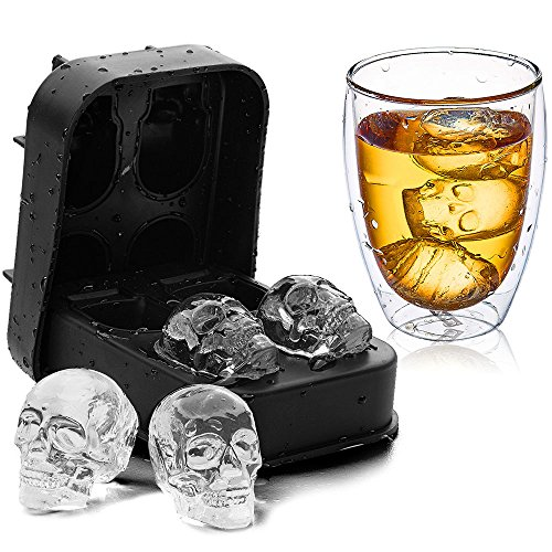 3D Skull Ice Cube Tray KIDAC Slicone Ice Cube Mold Candy Chocolate Mold BPA free - Dishwasher Safe