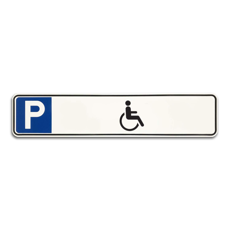 Reserviert Betriebsausstattung24 Gepr/ägtes Parkplatzschild in Nummernschildform f/ür Ihren Parkplatz /& Stellplatz oder Kunden /& Besucher KFZ-Kennzeichen