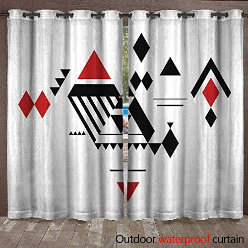 io Outdoor Curtain Diamonds Pattern Waterproof CurtainW108 x L96 ()