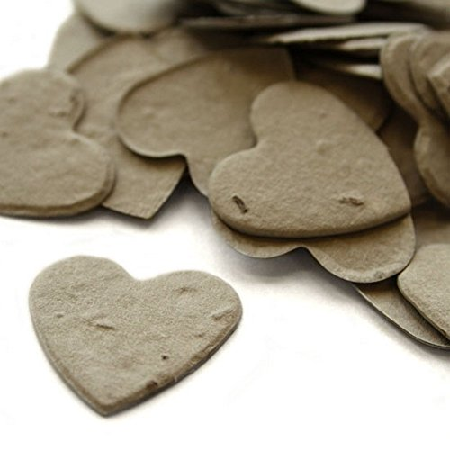 Heart Shaped Plantable Seed Confetti (Stone Grey) - 350 pieces/bag