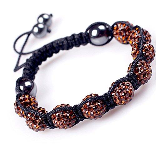 GEM-inside Brown Women Girl 10mm Pave Shine Crystal Ball Hand-Woven Bracelet Adjustable