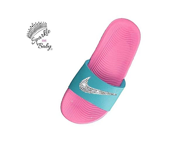 053075d5aaa8 Image Unavailable. Image not available for. Color  Nike Slide Kawa Women s  Pink and Blue Swarovski Blinged Out Nike Customized ...