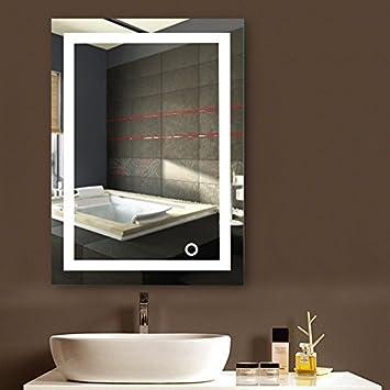 Flyelf Badspiegel LED Spiegel,60 x 80cm Beleuchtung Badezimmerspiegel,  kaltweiß 6500K