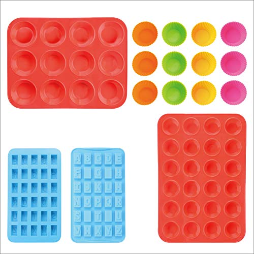 Yoku Made BPA Free Thick Heavy-duty Standard-size 12 Cavities Silicone Muffin Pan, 24 Cavities Mini Muffin Tray, 12 Pack Silicone Muffin Cups, 2 Pack Mini Alphabet Molds