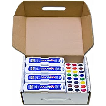 Prang Classroom Master Pack, OVL-8, 24-Count, Oval 8-Color Watercolor Sets & 12-Count Refill Trays (08020)