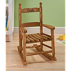 Miles Kimball Personalized Child's Natural Rocker - Black Font