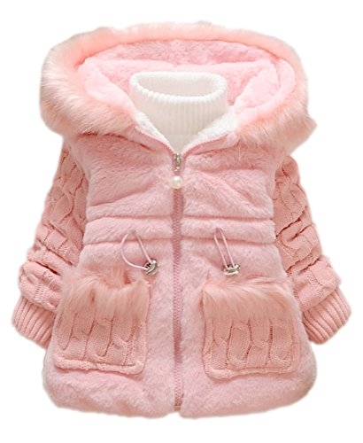 Toddler Kids Baby Girl Knitted Sleeves Winter Warm Coat Jacket(8,Pink)