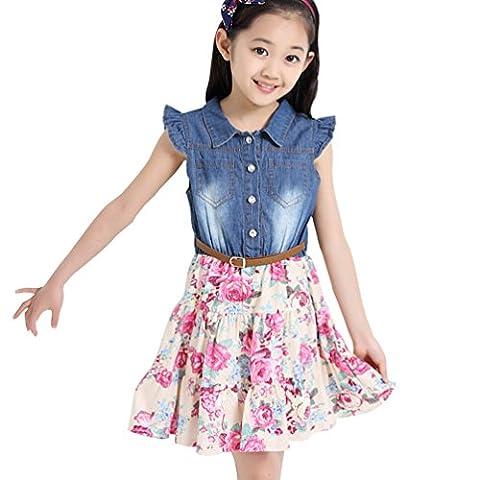 Csbks Little Girls Summer Sleeveless Denim Dress Floral Skirt with Belt 8-9 year Pink - Girls Pink Floral Denim