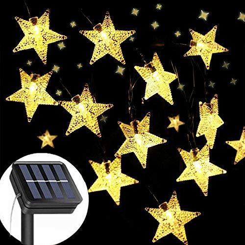 Solar String Lights Garden, 8 Modes 50 LED Star Fairy Lights Outdoor Solar Powered Led Star String Light Waterproof Decorative Lights for Garden Patio Yard Home Wedding Party (Warm White)
