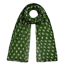 10mm Polka Dot, Large Viscose Scarf, Green/White Dot
