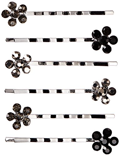 Bobby Pins 6/Pkg-Studded Flower/Silver/Black
