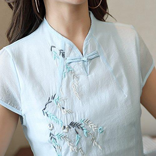 En Vestido Estilo Cheongsam Bordado Ventilador El ZHUDJ color Largo Vestido Algodón Folk Algodón Vestido Amable Arte Mujer Picture 4I1zwqS