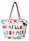 Colorful Summer Printed 18 inch Zipper Top Beach Tote Bag (Hello Summer) Review