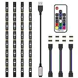 LED Strip Lights, JIRVY 2M/6.6ft RGB Bias Lighting for 40-60 inch HDTV,USB LED TV Backlight Kit with RF Remote - 20 Colors and 22 Dynamic Mode (4pcs x 50cm LED Strips)