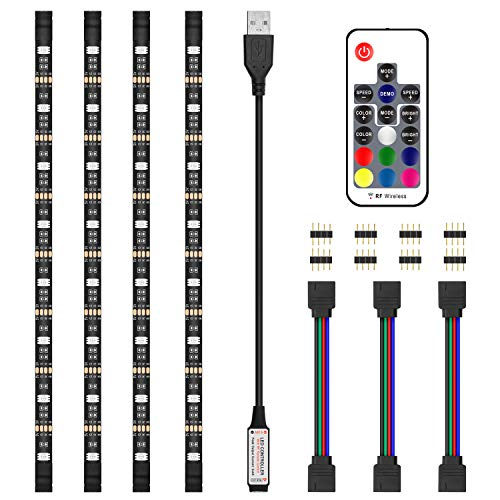 LED Strip Lights, JIRVY 2M/6.6ft RGB Bias Lighting for 40-60 inch HDTV,USB LED TV Backlight Kit with RF Remote - 20 Colors and 22 Dynamic Mode (4pcs x 50cm LED Strips)