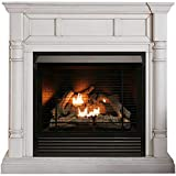 Duluth Forge FDI32R-M-AW Full Size Dual Fuel Ventless Fireplace 32,000 BTU, Remote Control, Antique White Finish