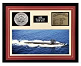 Navy Emporium USS Bluefish SSN 675 Framed Navy Ship Display Burgundy