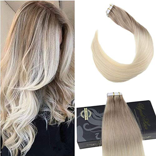 16 inch Two Tone Ombre Tape on Real Hair Extensions 20pcs/50g Ash Blonde Fading to Platinum Blonde Dip Dye Color Hair Invisible Tape Hair Extensions 20pcs/50g