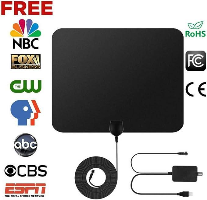 SANWAN antena de TV, antena de interior plana de 50 millas, antena HD para TV y fox, soporte para 1080P canales digitales HD VHF/UHF: Amazon.es: Coche y moto