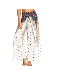 Jiayiqi Women Bohemia Side Split High Waisted Wide Leg Pants