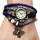 Liroyal Retro Wrap Around Flower Sense Weave Leather Watch Bracelet Wrist Watch Wristband