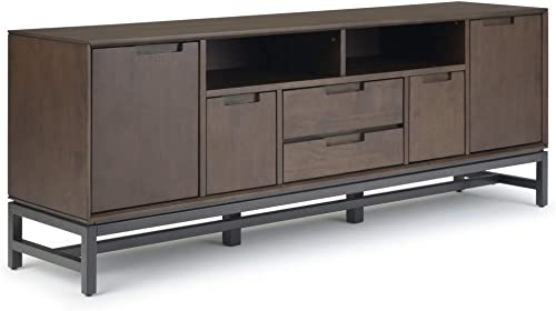 Simpli Home Banting SOLID WOOD Universal TV Media Stand, 72 inch Wide, Modern Industrial, Storage Shelves and Cabinets, for Flat Screen TVs up to 80 inches, Walnut Brown