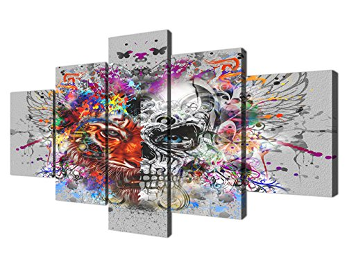 Yatsen Bridge 5 Pieces painting Canvas Wall Art Modern Skull Day of The Dead Colorful butterfly pictures Artwork Stretched and Framed Decor for Living Room Bedroom (60''W x 32''H)