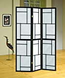 Coaster Wood Framed 3-Panel Screen, Black
