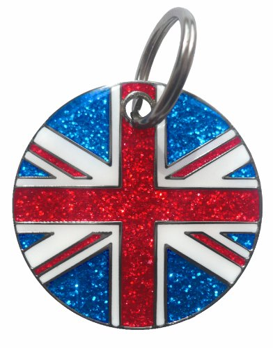 K9 Union Jack Glitter Identity Tag