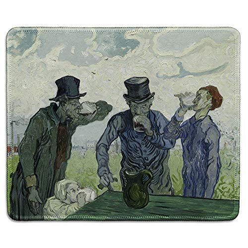 Painting Drinker - dealzEpic - Art Mousepad - Natural Rubber Mouse Pad with Famous Fine Art Painting of Three Drinkers by Vincent Van Gogh - Stitched Edges - 9.5x7.9 inches