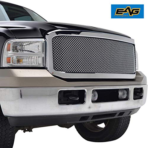 (EAG Chrome Wire Mesh Grille+Shell for 05-07 Ford Super Duty F-250/F-350)