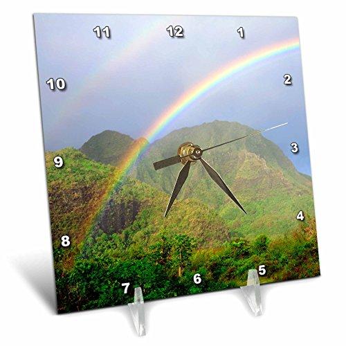 3dRose dc_210319_1 USA, Hawaii, Kauai Hawaiian Rainbow Desk Clock, 6 by 6'' by 3dRose