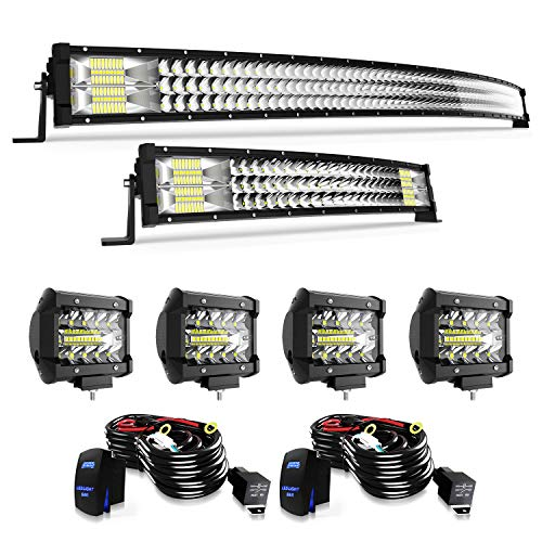 T-Former 52Inch 711W Curved LED Light Bar+ 22Inch 306W Curved Light Bar Spot Flood Combo Off Road Lights + 4Pcs 4in 60W Driving Fog Lights W/Wiring Harness Kit For Jeep Trucks Boat Lighting
