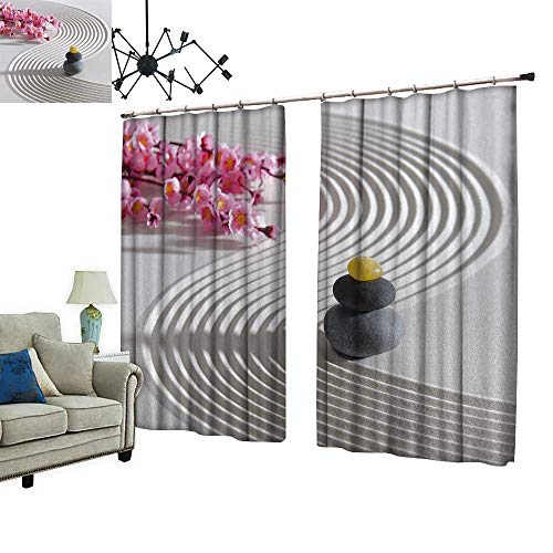PRUNUS Waterproof Window Curtain Japan Zen Garden of Meditation with Stone and Structure in Sand Sleep Well Blackout Curtain wuth Hook for Bedroom,W55 xL63 from PRUNUS