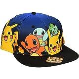 BIOWORLD Pokemon The Original Starters Blue Gradient Snapback Cap Hat