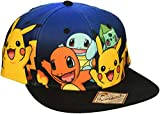 BIOWORLD Pokemon The Original Starters Blue Gradient Snapback Cap Hat