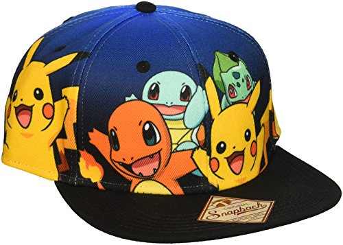 BIOWORLD-Pokemon-The-Original-Starters-Blue-Gradient-Snapback-Cap