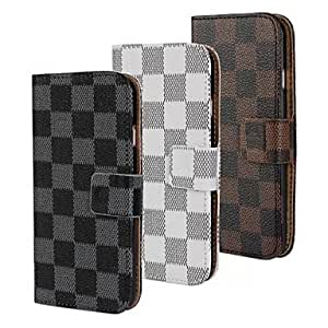 LCJ Grid High Quqlity Leather Full Body Case for iPhone 6 Plus (Assorted Colors) , Black