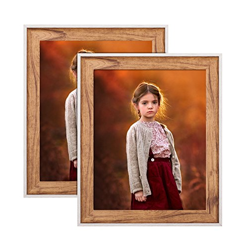 8 x 10 Picture Frames for Kitchen Decor Wall Mounting 2 Pack Vintage Color Photo Frame with Mat for Standing Tabletop ()