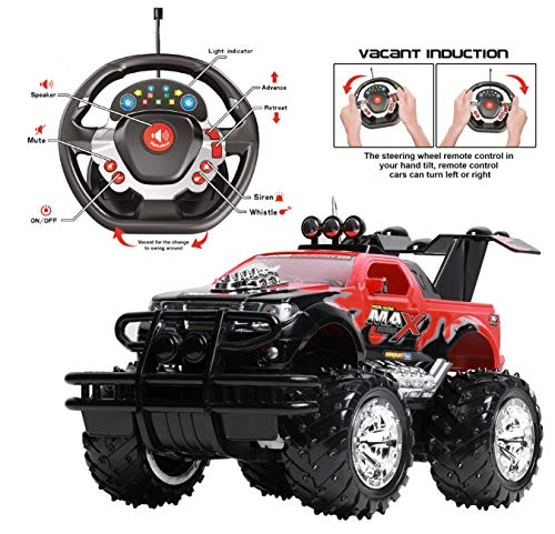 Remote Control Car for Boys and Girls, Rechargeable, Powerful Sound and Motion Sensor Steering Wheel Remote, Hobby Toy Race Car, RC monster truck, Electric Jeep for Kids and Adults 6+, Best Gif, red