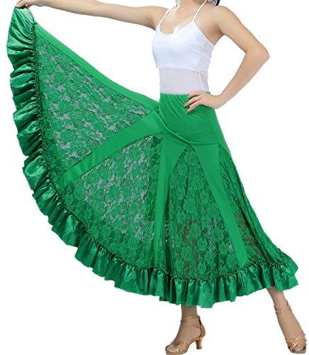 [Lace Flamenco Paso Doble Waltz Ballroom Circle Latin Dance Skirts Costumes Green] (Paso Doble Costume)