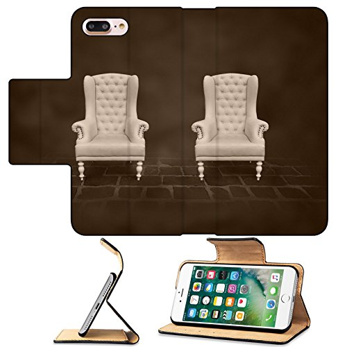 MSD Premium Apple iPhone 7 Plus Flip Pu Leather Wallet Case two vintage chair in a dark room iPhone7 IMAGE 19257795