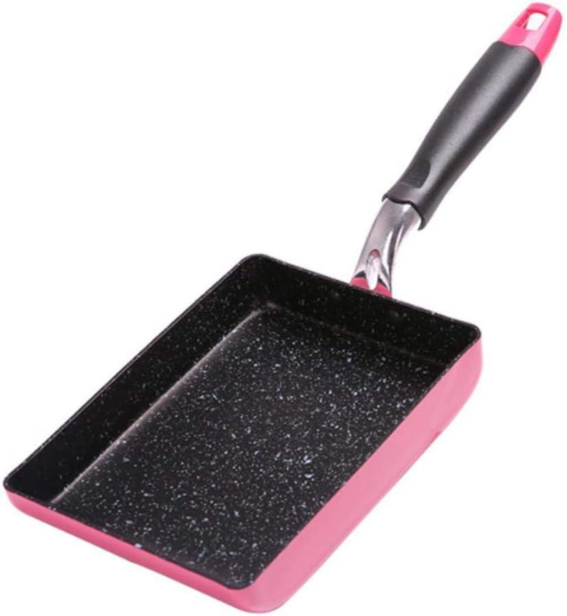 LIKEZZ 13x18cm Poêle à Frire antiadhésive/Poêle à Oeufs/Poêle à crêpes carrée/Omelette Japonaise aux Oeufs/Cuisinière à Induction/Gaz/Poêle BBQ, Noir Pink