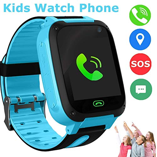 Kids Smart Watches Phone, SZBXD GPS Tracker Touch Screen Flashlight SOS Camera Clock Voice Chat Smartwatch - Boys Girls Christmas Birthday Gift (Blue)