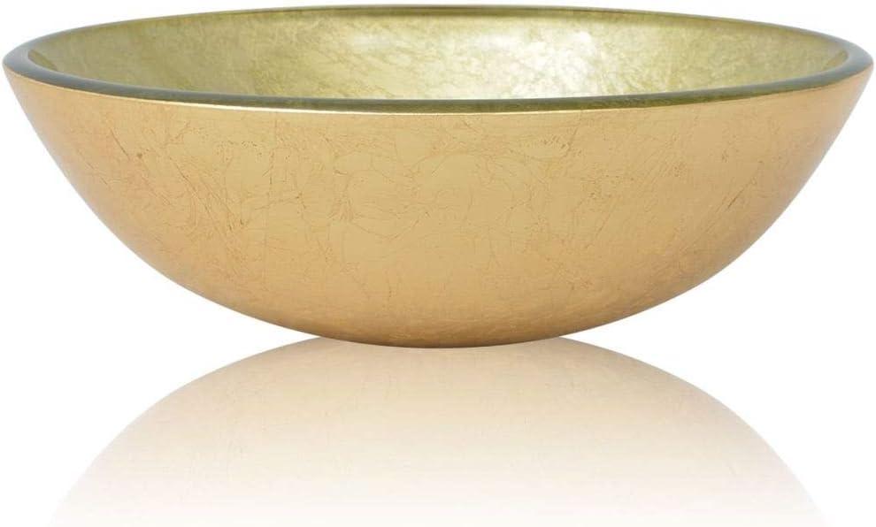 vidaXL Lavabo de Vidrio Templado Dorado 42 cm Lavamanos Cristal Baño Tocador