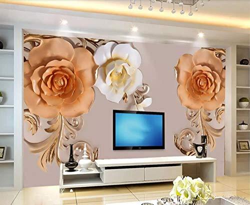 Wallpaper 3D Floral Pattern Effect Relief Custom Large Mural 3D Effect Living Room Bedroom Wall Murals,300cmX210cm