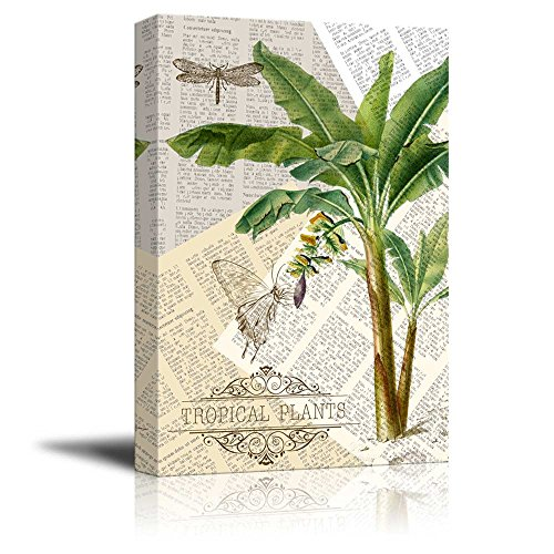 Wll Art Tropical Plants on Vintage Newspaper Background and Stretched