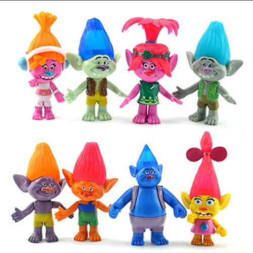 ganggamtop Trolls Poppy Branch DJ Suki Biggie Doll Toys For Kids Christmas Gift 8pcs/set