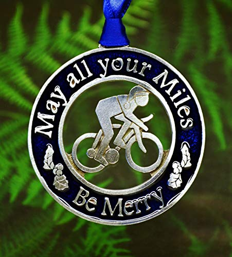Biking Christmas Decorations | Bicycle Christmas Ornament | Gift for Cyclist Blue Color